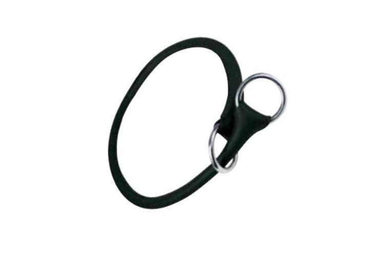 Gloria Round Leather Dog Choke Collar (Black) (45cm)