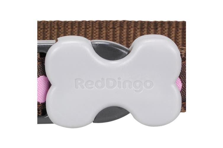 Red Dingo Spots Dog Collar (Pink/Brown) (XS)