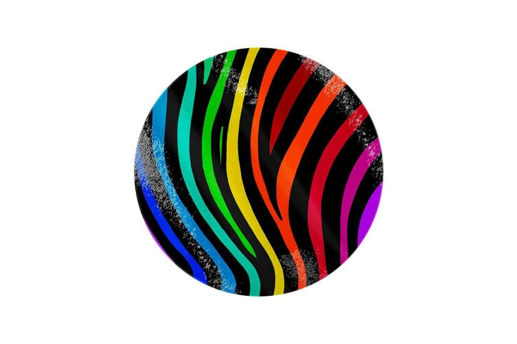 Grindstore Rainbow Stripes Circular Glass Chopping Board (Rainbow) (One Size)