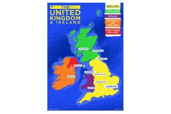 Grindstore UK & Ireland Country Map Mini Poster (Multicoloured) (One Size)