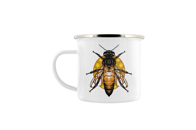 Grindstore Queen Bee Enamel Mug (White/Yellow) (One Size)