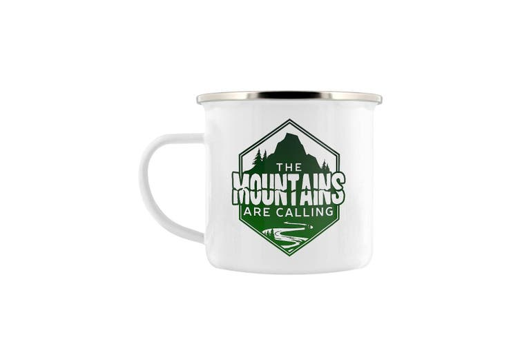 Grindstore The Mountains Are Calling Enamel Mug (White/Green) (One Size)