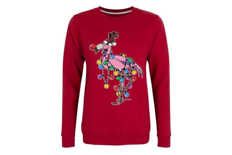 Grindstore Womens/Ladies Festive Flamingo Christmas Jumper (Red) (S)
