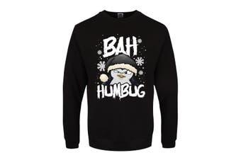 Psycho Penguin Mens Bah Humbug Christmas Jumper (Black) (XS)