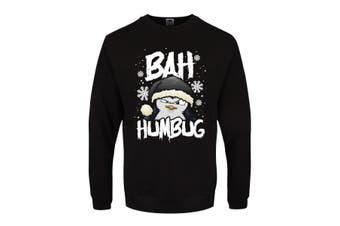 Psycho Penguin Mens Bah Humbug Christmas Jumper (Black) (XXL)