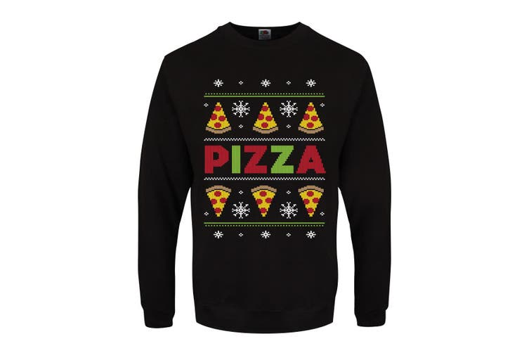 Grindstore Mens Pizza Party Christmas Jumper (Black) (XL)