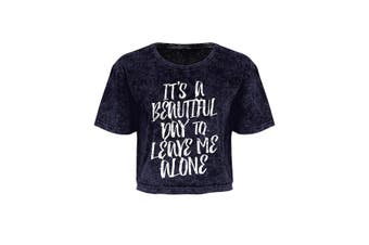 Grindstore Ladies/Womens It's A Beautiful Day To Leave Me Alone Acid Wash Oversized Cropped T-Shirt (Purple) (Small (UK 8-10))