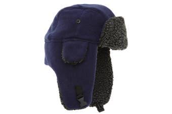 EX-STORES Unisex Mens/Womens Fleece Trapper Hat, Ski Hat (Navy) - UTHA301