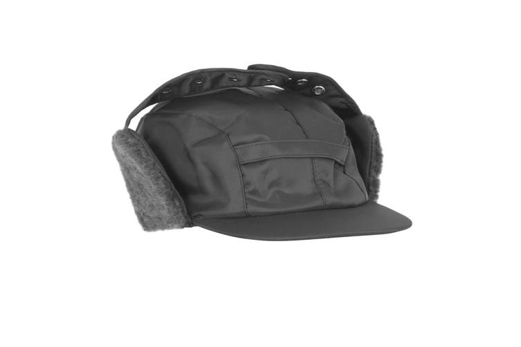 Mens Water Proof Thermal Trapper Hat With Ear Flaps (Black) (59cm)