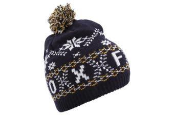 Unisex Fairisle Pattern Oxford Winter Bobble Hat (Navy) (One Size)