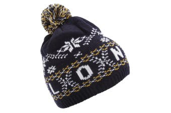 Childrens/Kids Fairisle Pattern London Winter Bobble Hat (Navy) (One Size)