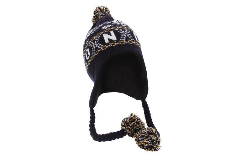 Unisex Fairisle Pattern London Peruvian Winter Hat (Navy) (One Size)