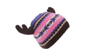 FLOSO Childrens/Kids Fairisle Moose Winter Beanie Hat With Antlers (Pink/Purple) (One Size)