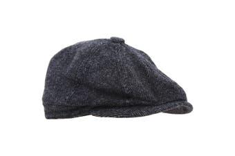 Mens 8 Panel Wool Blend Newsboy Cap (Dark Grey) - UTHA496
