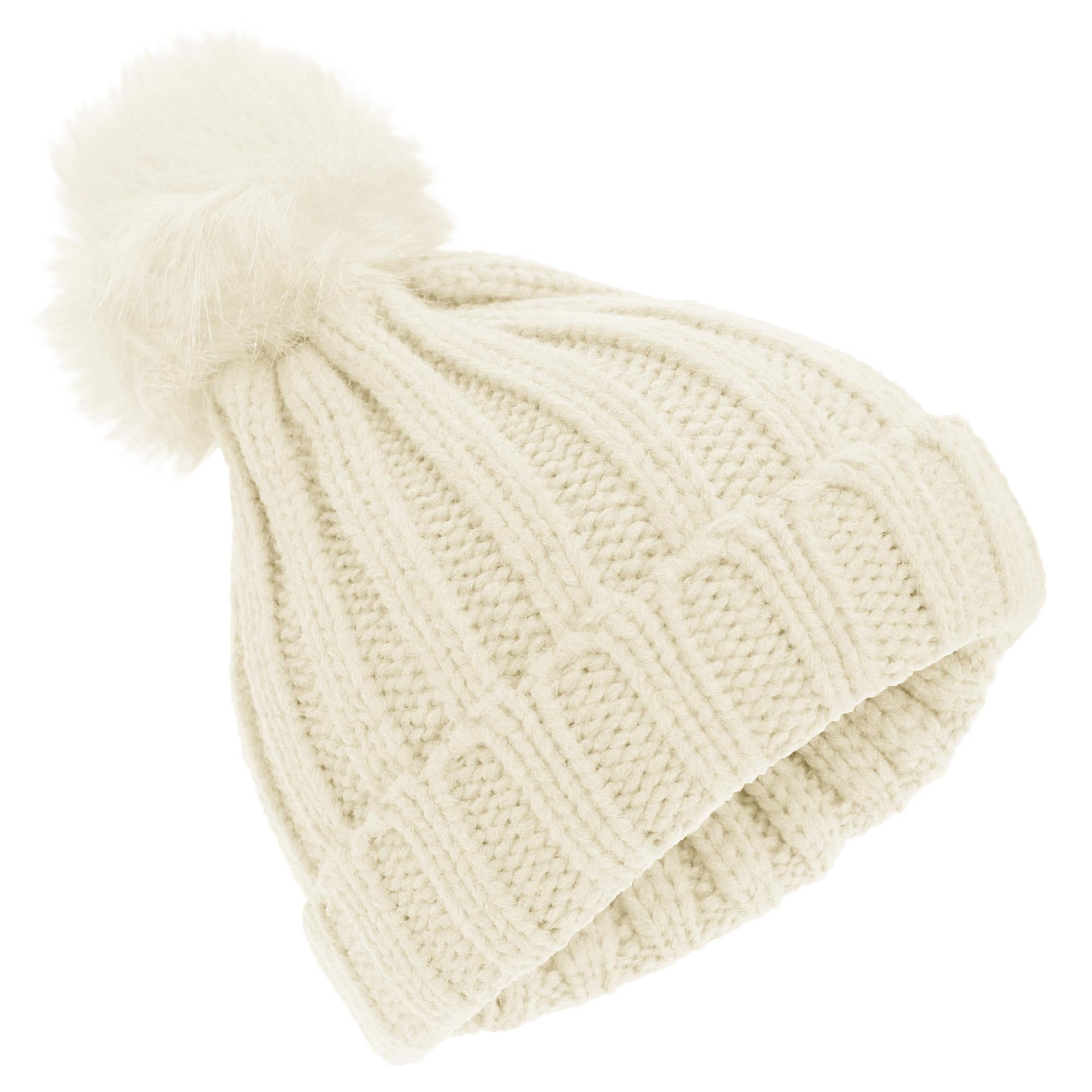 Childrens Girls Cable Knit Faux Fur Pom Pom Winter Beanie Hat
