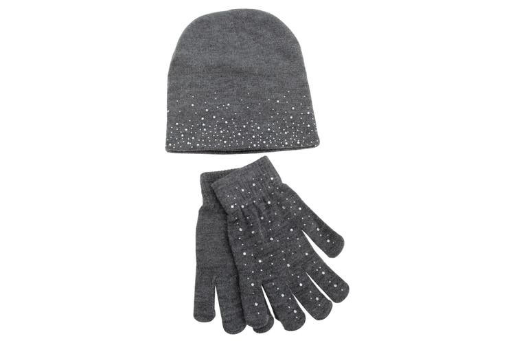 Foxbury Womens/Ladies Diamante Hat And Glove Set (Grey) (One Size)