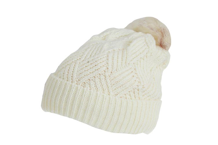 Rock Jock Womens/Ladies Winter Hat With Detachable Faux Fur Pom Pom (White) (One Size)