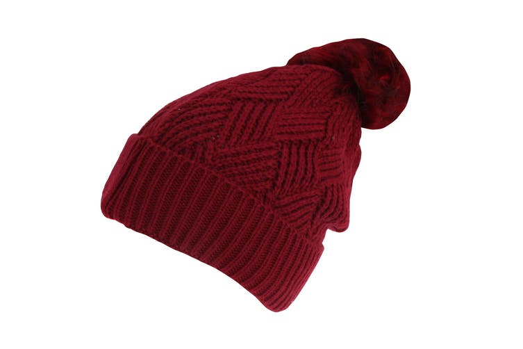Rock Jock Womens/Ladies Winter Hat With Detachable Faux Fur Pom Pom (Maroon) (One Size)
