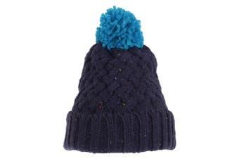 Adults Unisex Knit Feel Bobble Hat (Navy/Blue) (One Size)