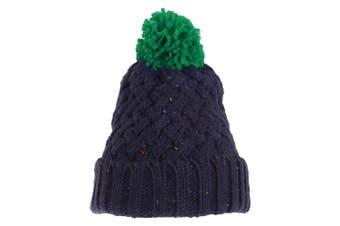 Adults Unisex Knit Feel Bobble Hat (Navy/Green) (One Size)