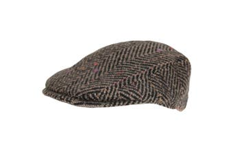 Hawkins Mens Woolly Flat Cap (Brown/Black) (60cm)