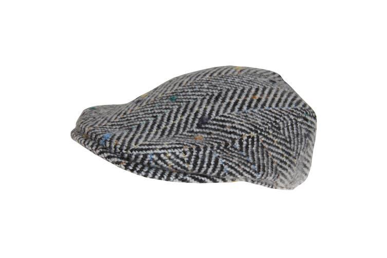 Hawkins Mens Woolly Flat Cap (Black/White) (58cm)
