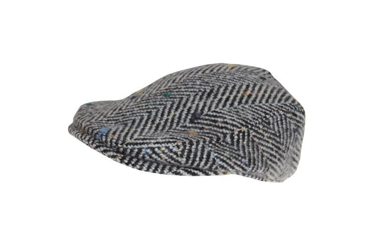 Hawkins Mens Woolly Flat Cap (Black/White) (59cm)