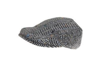 Hawkins Mens Woolly Flat Cap (Black/White) (60cm)