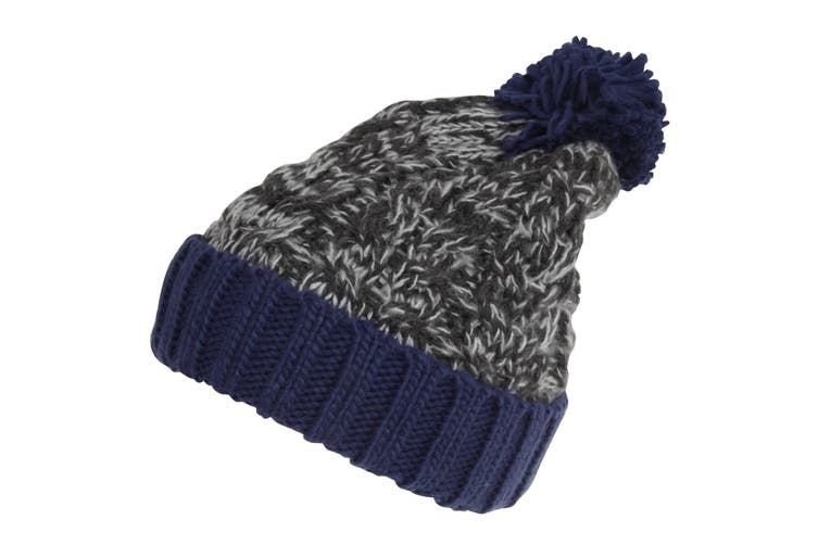 Childrens/Kids Knitted Tassel Bobble Hat (Black/Navy) (One Size)