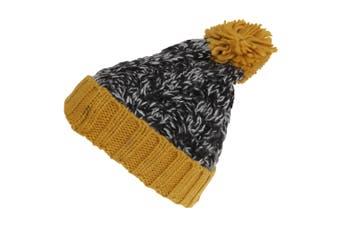 Childrens/Kids Knitted Tassel Bobble Hat (Black/Yellow) (One Size)