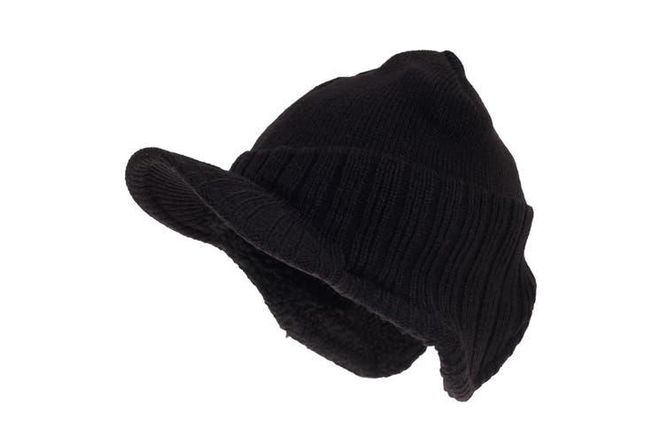 RockJock Mens German Style Peak Beanie Hat (Black) (One Size)