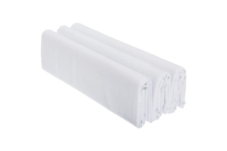 Mens Plain 100% Cotton Handkerchiefs (Pack Of 3) (White) (One Size)