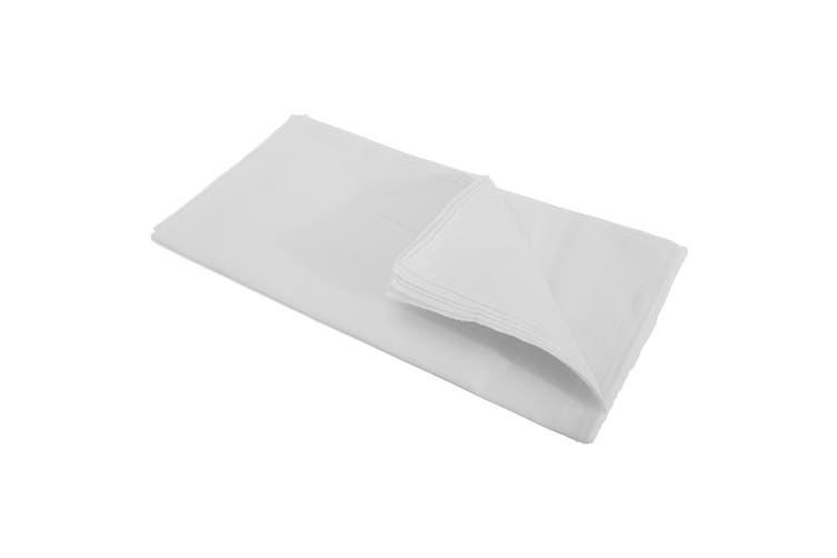 Mens Plain Cotton Rich Handkerchiefs (Pack Of 10) (White) (10 Pack)