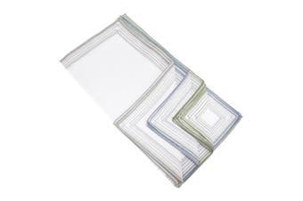Mens Cotton Rich Stripe Border Handkerchiefs (Pack Of 10) (Green/Grey/Blue) (10 Pack)
