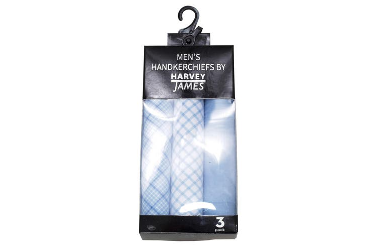 Harvey James Mens Cotton Handkerchiefs (Pack Of 3) (Light Blue) (One Size)