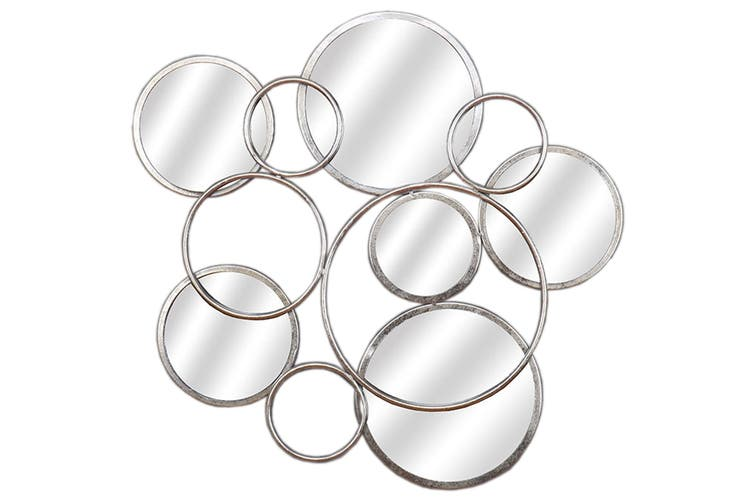 Hill Interiors Circular Abstract Mirrored Wall Art (Silver) (One Size)