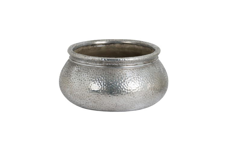 Hill Interiors Metallic Ceramic Round Wide Necked Planter (Silver) (One Size)
