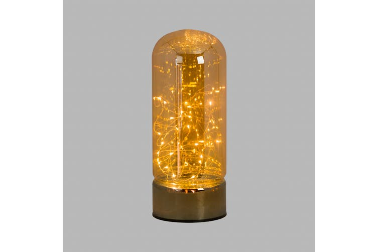 Hill Interiors Glass Domed Micro-LED Lantern (Bronze) (Large (H30cm x W12cm x D12cm))
