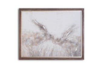 Hill Interiors March Hares On Cement Board With Frame (Brown/Black/Grey) (One Size)