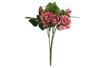 Hill Interiors Artificial Sprayed Rose Flower (Dark Peach) (One Size)