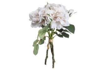 Hill Interiors Artificial Short Stem Rose Bouquet (White/Grey) (One Size)
