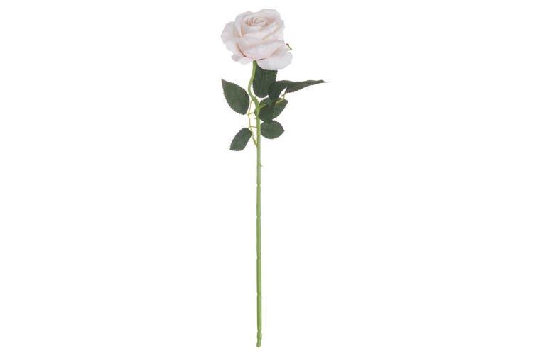 Hill Interiors Artificial Single Stem Tea Rose (Pink Cream) (53cm)