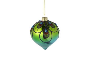 Colourful Glittery Peacock Glass Onion Bauble (Multicoloured) (8x8x9cm)