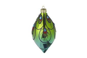 Colourful Glittery Peacock Glass Finial Bauble (Multicoloured) (6x6x13cm)