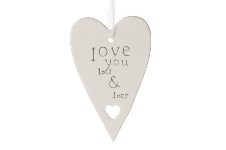 Lots & Lots Heart Plaque (White) (9.5 x 0.6 x 15cm)
