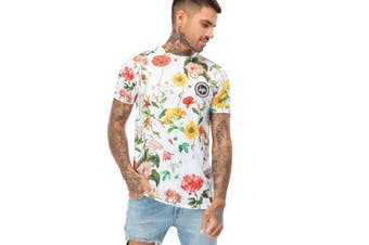 Hype Mens Regal Birds T-shirt (White) - UTHY1187