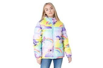 Hype Childrens/Kids Rainbow Unicorn Puffer Jacket (Multicoloured) - UTHY1203