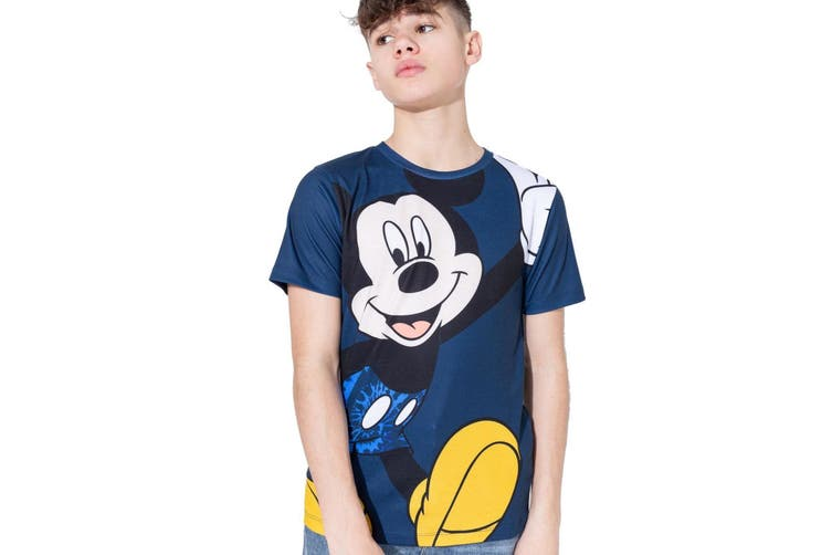 Hype Disney Childrens/Kids Mickey Allover T-shirt (Blue) (14 Years)