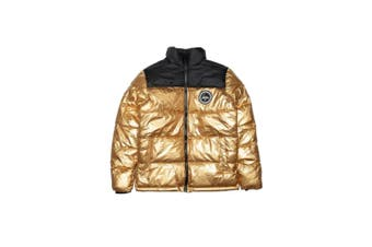Hype Womens/Ladies Colourblock Puffer Jacket (Black/Gold) (14 UK)