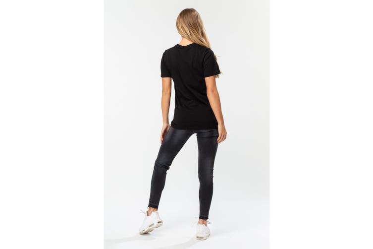 Hype Womens/Ladies Script T-Shirt (Black/White) (16 UK)